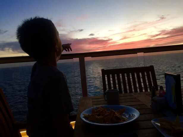 Nachos and sunsets at sea